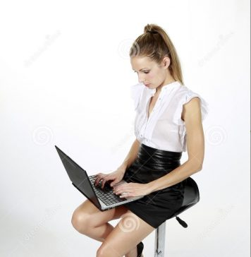 Business girl laptop